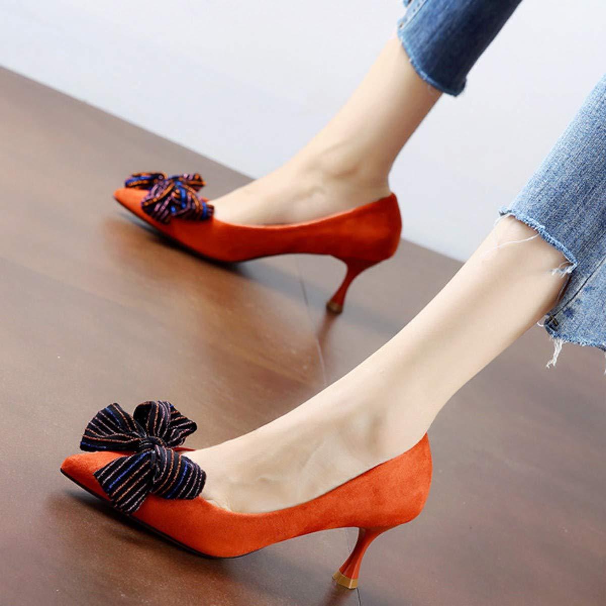 LBTSQ-Elegant Fliege Brautjungfer Schuhe Spitze Dünne Dünne Dünne Sohle Hochhackigen Schuhe 6CmEinzelne Schuhe Jede Art Von Witzen. c0dad2