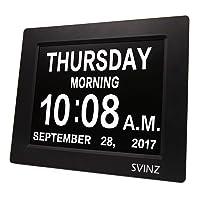 SVINZ 3 Alarms Dementia Clock, 2 Auto-Dim Options, Large Display Digital Calendar...