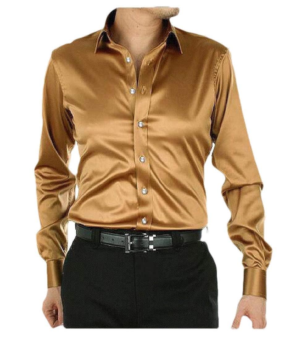 Hajotrawa Mens Stretch Button Down Long-Sleeve Slim Faux Silk Shirt
