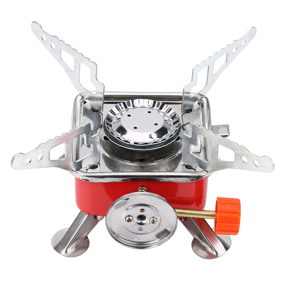 Huairdum Portable Square Camping Stove, Portable Outdoor Portable Mini Picnic Portable Camping Gas Stove Oven Picnic with Four Folding Brackets Fitted Various Pots