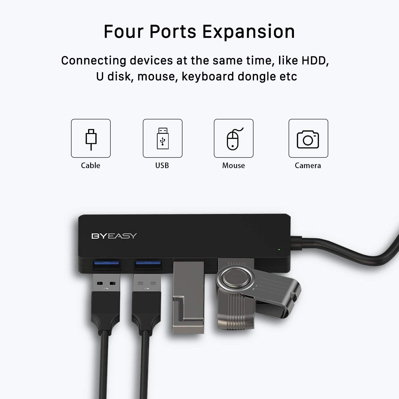 USB Hub, BYEASY 4-Port USB 3.0 Hub Ultra Slim Portable USB Splitter for iMac Pro, MacBook Air, Mac Mini/Pro, Surface Pro, Notebook PC, Laptop, USB Flash Drives, and Mobile HDD (Leather Black)