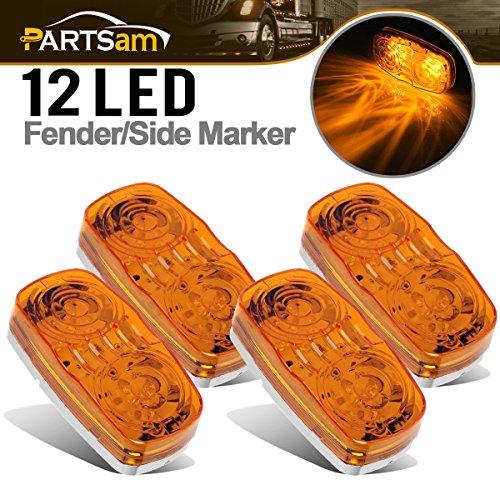 (Partsam Bullseye Side Marker Light Indicators for Truck Trailer 12V Waterproof 4PCS (4in. x 2in.), Sealed 2x4 Double Bullseye LED Trailer Clearance Marker Lights Turn Signal)
