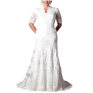 Yuxin Gorgeous Mermaid Modest Short Sleeves Lace Women Wedding Dress