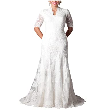205b8b3aa7b Yuxin Gorgeous Mermaid Modest Short Sleeves Lace Wedding Dress Plus Size  Long Bridal Gowns Ivory