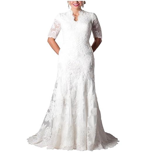 Yuxin Gorgeous Mermaid Modest Short Sleeves Lace Wedding Dress Plus
