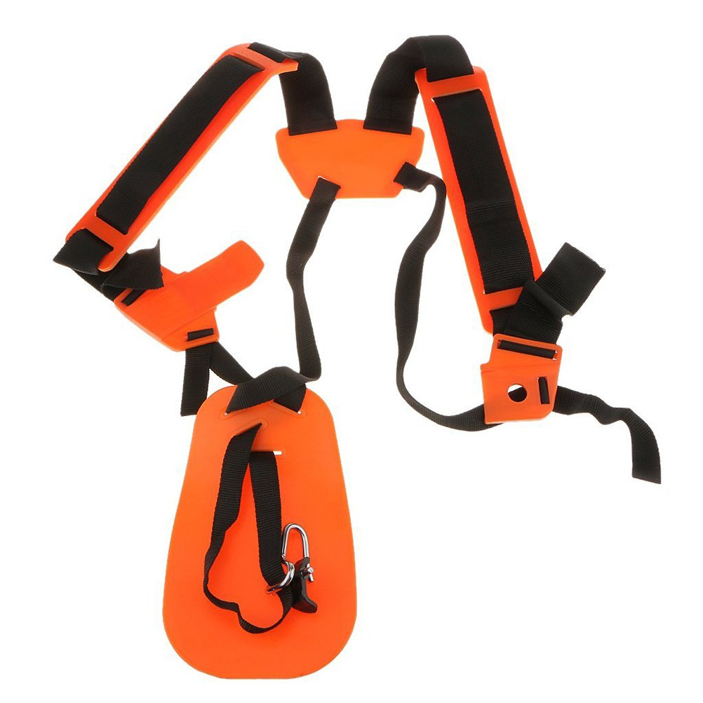 OUNONA Strimmer Double Shoulder Harness Strap Padded Belt For Brush Cutter Trimmer Gardden Pruner (Orange)