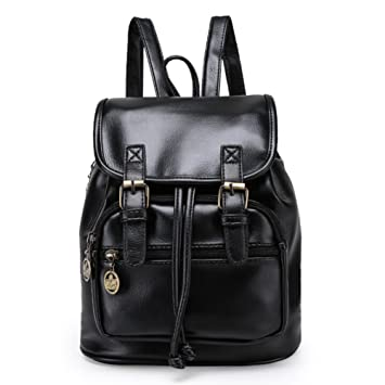 be9f12f49a Angelliu Women s Vintage Retro Style PU Leather College School Bag Casual  Mini Travel Backpack Satchel Black