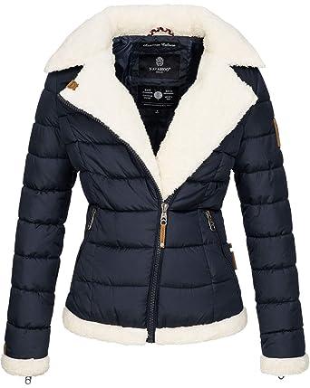 b95ef24a412eb Navahoo Damen Designer Winter Jacke warme Winterjacke Steppjacke Teddyfell  B652