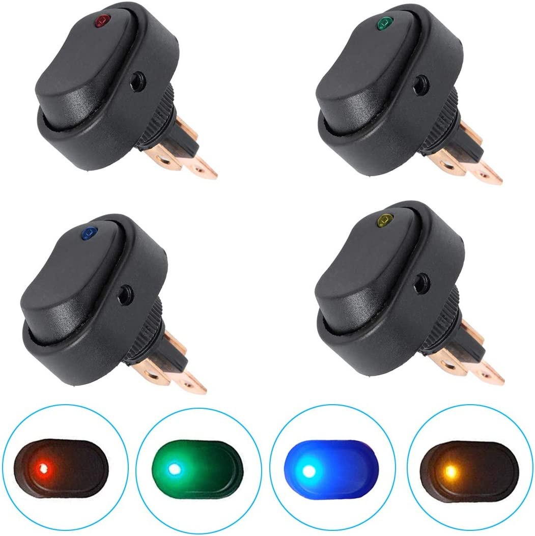 eFuncar 3Pin 12V 30A Toggle Switch SPST ON Off 2 for Each Color 8Pcs Waterproof LED Blue Green Yellow Red Lighted Rocker Switch for Car Truck Boat Marine Auto Motorcycle