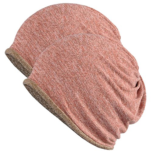 (FORTREE 2 Pack Multifunction Slouchy Beanie for Jogging, Cycling (Pink & Brown))