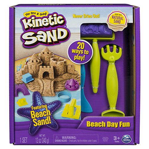 Kinetic Sand Beach Day Fun Playset with Castle Molds Tools, and 12 Oz. of Sand, for Ages 3 and up