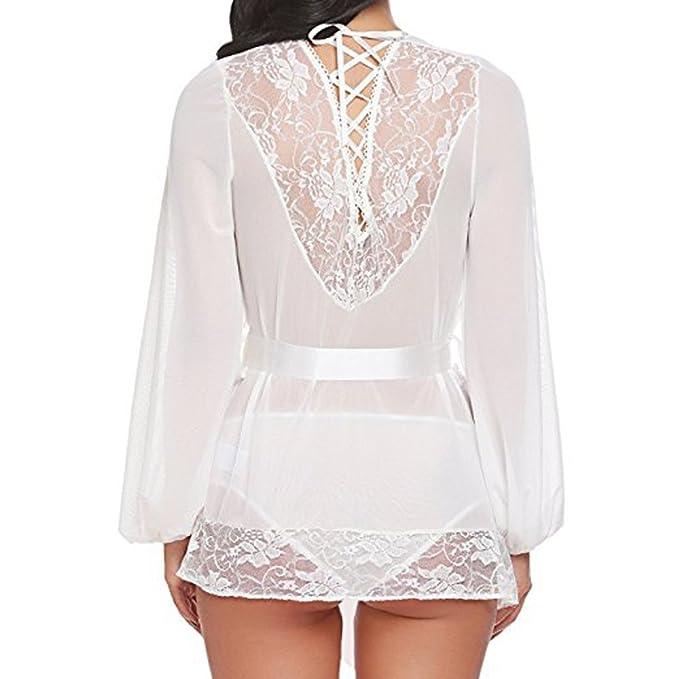 Modaworld _Lencería Lencería Mujer Erotica Mujer Bata de Kimono de Encaje Babydoll Lace Up camisón con cinturón Ropa de baño Ropa Interior para Dormir y ...