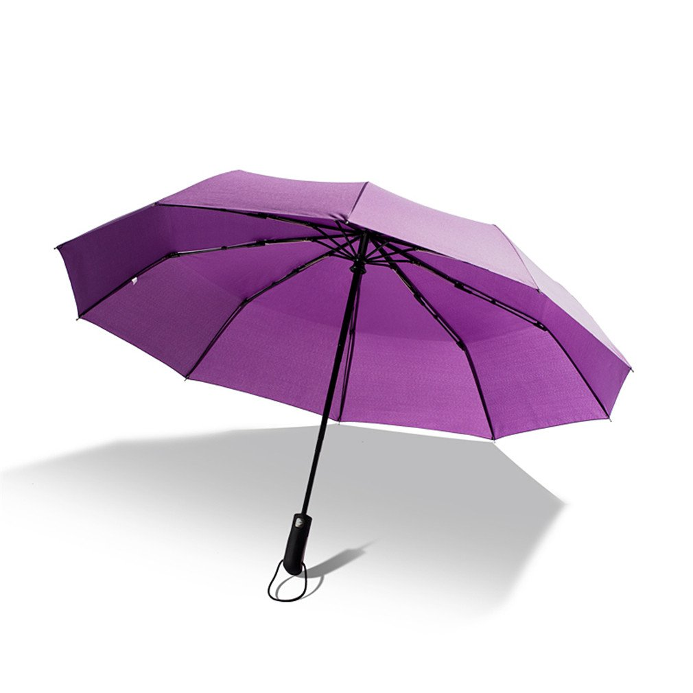 Guoke A Key To Business Men And Women Fully Automatic Folding Umbrella With Fine Rain Two King-Size Rugged, Purple