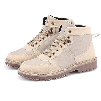 Jiuyue-shoes, Botas para Hombre 2018 Botas Martin para Hombre Costura con Punta Redonda