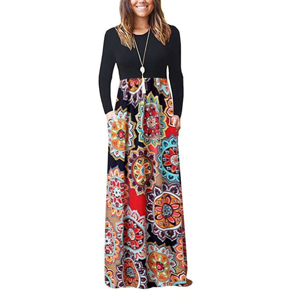 Elegant Maxi Dresses for Women Sale Chaofanjiancai Long Sleeve Loose Plain Maxi Pockets Dresses Casual Printed Long Dresses by Chaofanjiancai_Dress
