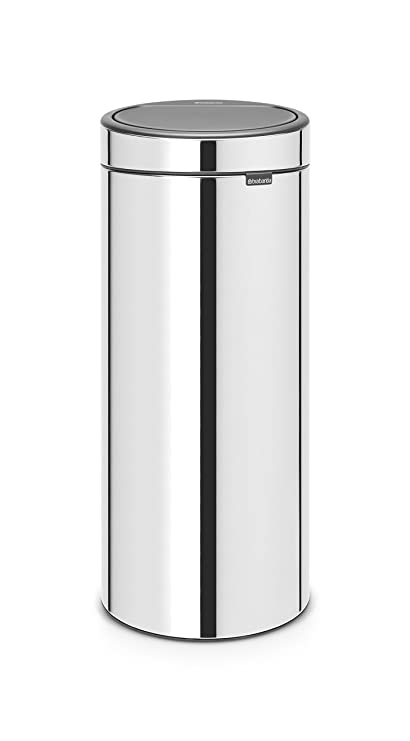 Brabantia Touch Bin Cubo de Basura, 30 litros, Acero Inoxidable, Brillante, 32 x 29.5 x 72 cm