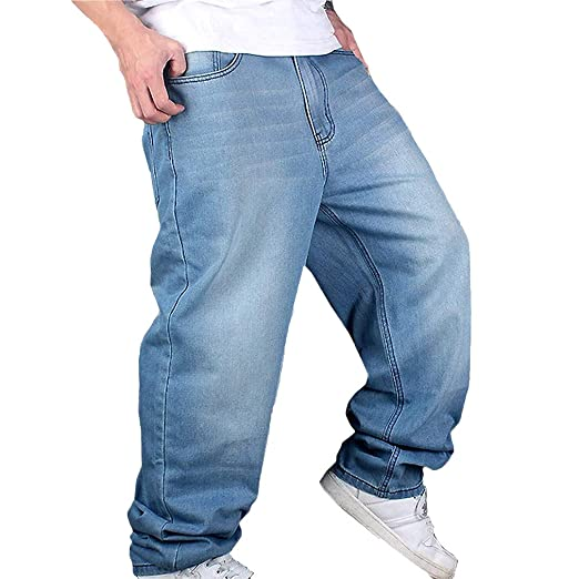 Hombres de la Vendimia Hip Hop Baggy Jeans Denim Street Dance Pantalones de Skate Straight Fit Teenage Boys