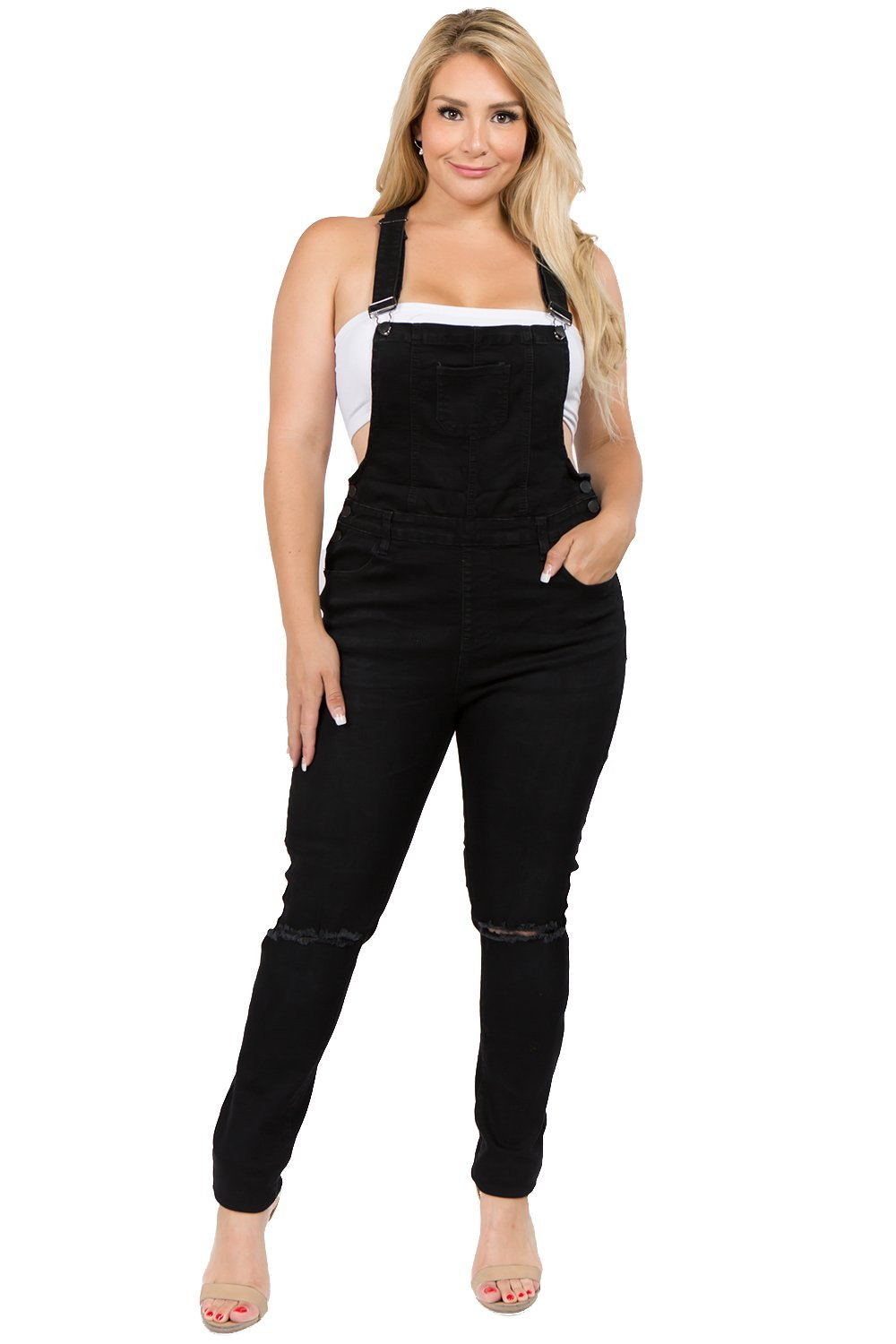 TwiinSisters Women's Plus Size Natural Curve Enhancing Slim Fitted Overalls with Comfort Stretch