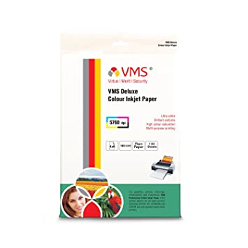 VMS Deluxe Colour Inkjet Paper High Glossy Inkjet Photo Paper 4R 102 x 152mm  180 GSM  100 Sheets  Photo Paper