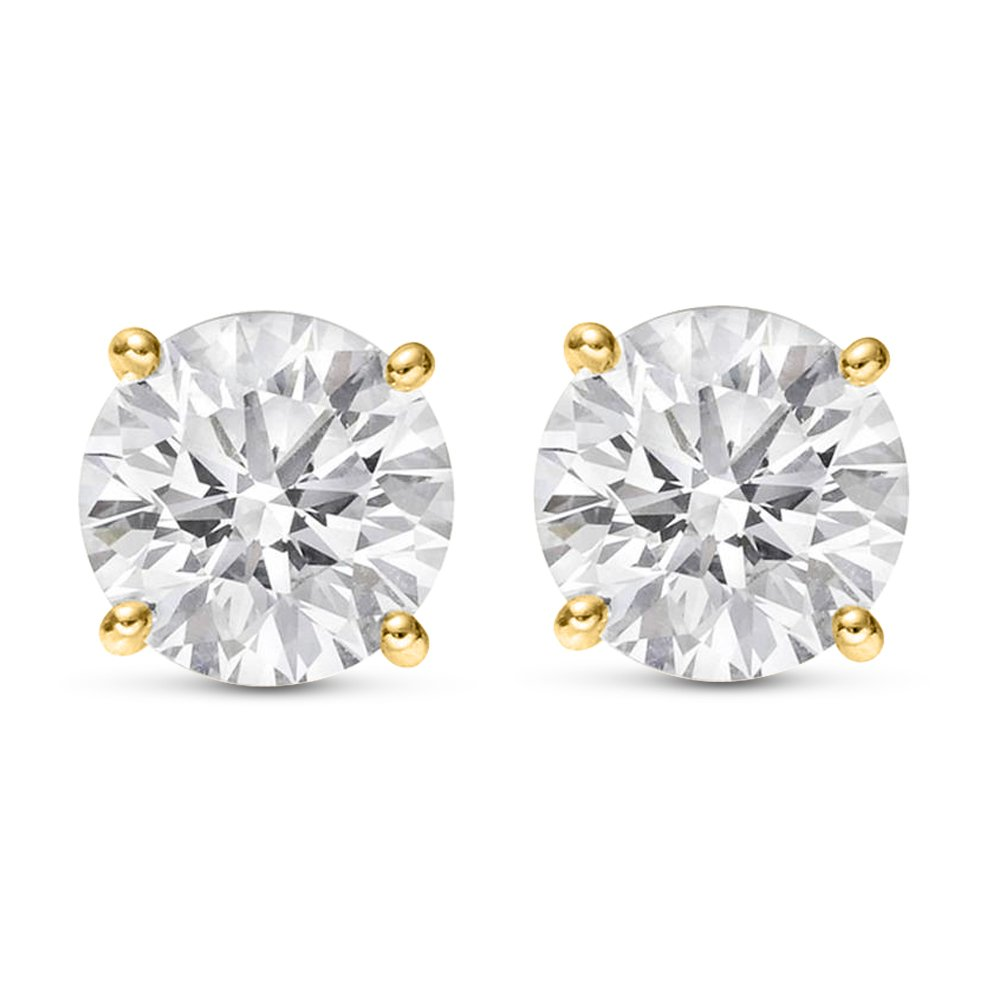 1/4 Carat 14K Yellow Gold Solitaire Diamond Stud Earrings Round Brilliant Shape 4 Prong Push Back (I-J Color, I1 Clarity)