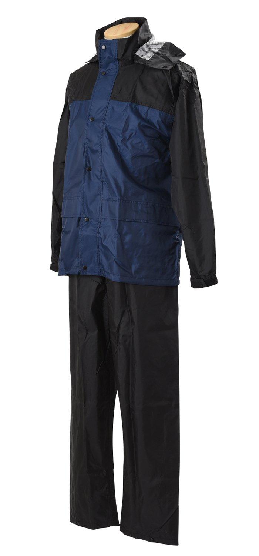 ブレリス レインスーツ 全4色 全6サイズ 上下スーツ ブラック/ネイビー LL 防水透湿 反射テープ付き 10,000mm/cm2 [正規代理店品] B019MO6R60 LL ブラック/ネイビー ブラック/ネイビー LL