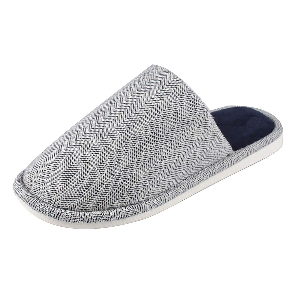 MK MATT KEELY Men's Slippers Knitted Cloth Warm Indoor Autumn and Winter House Cotton Shoes Non-Slip Navy 9-10 M