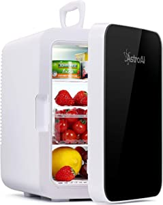 AstroAI Mini Fridge,10 Liter Compact Refrigerator Mini Cooler Warmer with AC/DC Power,Thermoelectric Skincare Fridge Great for Car,Bedroom,Office,Dorm,Travel(Black)