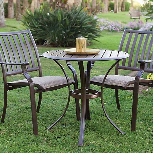 Aluminum Deck Furniture (Panama Jack Outdoor Island Breeze 3-Piece Slatted Dining Bistro Group Set, Includes 2 Armchairs and 30-Inch Round Table Aluminum Slatted Table)