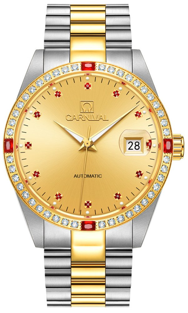 Men's Analog Luminous Calendar Stainless Steel Band Business Automatic Mechanical Watch Gold Color (Silver plus Gold) by Carnival