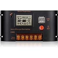 Sunix Controlador de Carga Solar 20A, 12V 24V Regulador Inteligente de Panel Solar con Puerto USB Dual y Pantalla LCD…