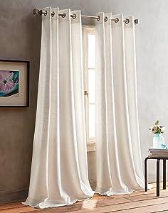 DKNY Boucle Plaid Grommet Window Curtain Panel Pair