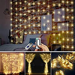 Juhefa Curtain String Lights,USB Powered Fairy Lights,IP64 Waterproof & 8 Modes Twinkle Lights Christmas Tree Kids Bedroom Wedding Holiday Wall Halloween (300 LEDs Warm White,9.8x9.8Ft)