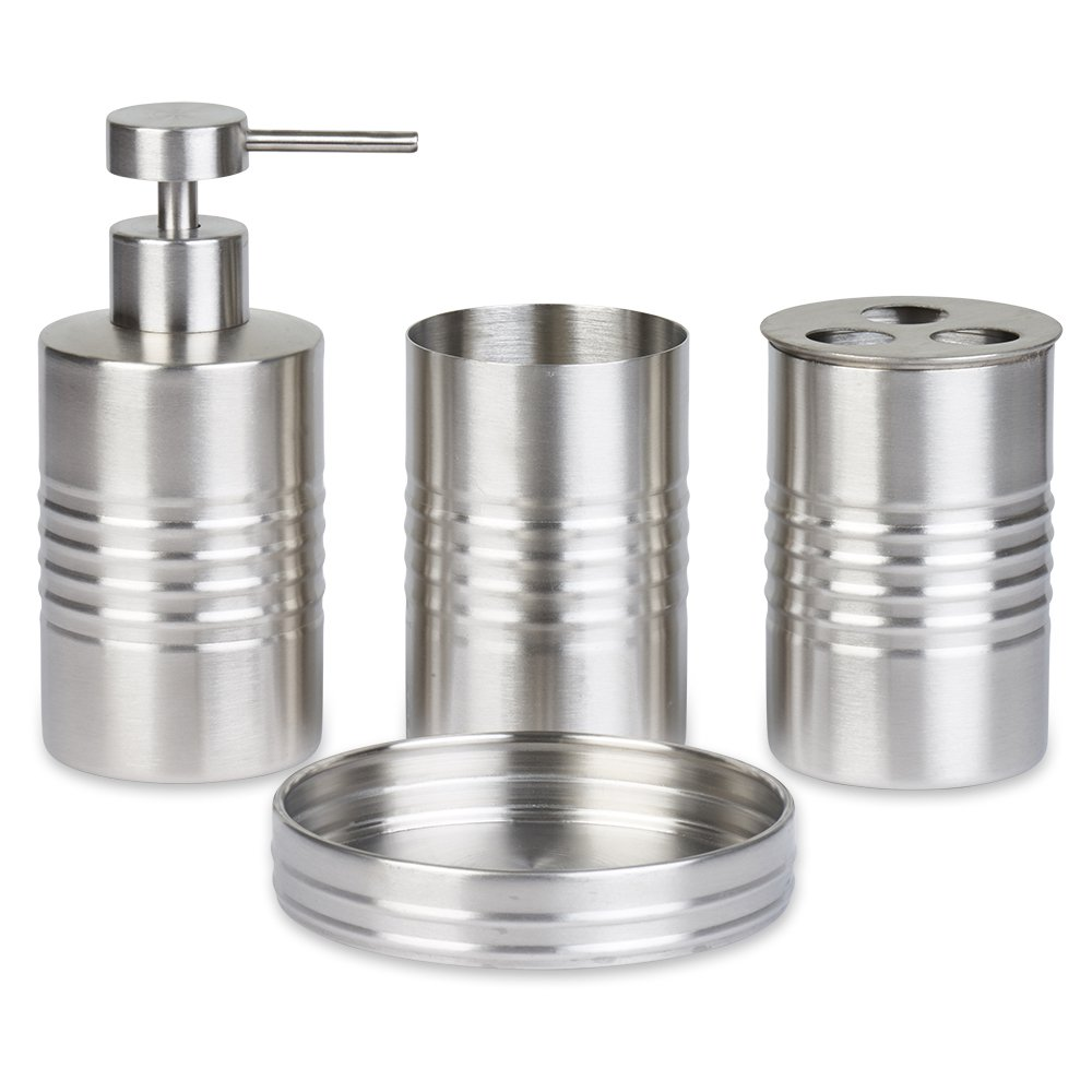 Blue Donuts Bathroom Accessories Set, Toothbrush Holder, Soap Dispenser, Stainless Steel, 4 Piece
