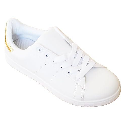 Zapatillas Blancas de Mujer Sneakers Estilo Casual y Deportivo, Color Blanco T.41: Amazon.es: Zapatos y complementos