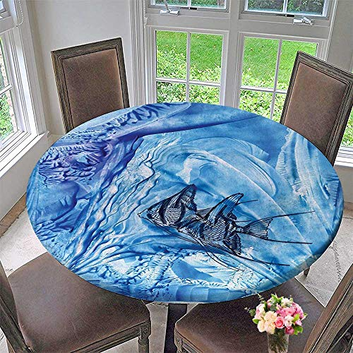 Mikihome Modern Table Cloth Flower Small in Creepy Snow Cover Ice Crystal Labyrinth Aquatic Theme Blue Indoor or Outdoor Parties 67
