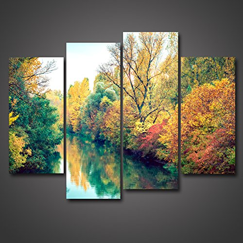 Modern Canvas Painting Wall Art The Picture For Home Decoration Autumn Fall Golden Birch Trees Leaves Forest Lake Scenery Park Beautiful Natural Landscape Print On Canvas Giclee Artwork by uLinked Art