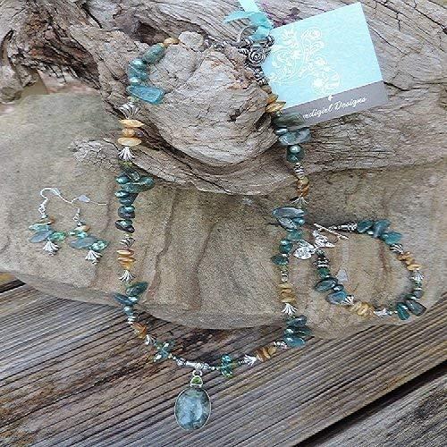 Handmade Jewelry Set - Rare Blue & Green Kyanite W/Peridot Pendant & Apatite Necklace, Bracelet & Earrings