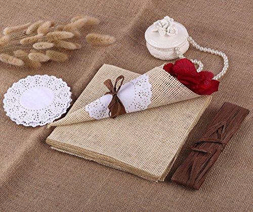 CraftbuddyUS 20 x Vintage Rustic Confetti Cone with Paper Burlap Doily Paper Wedding Party
