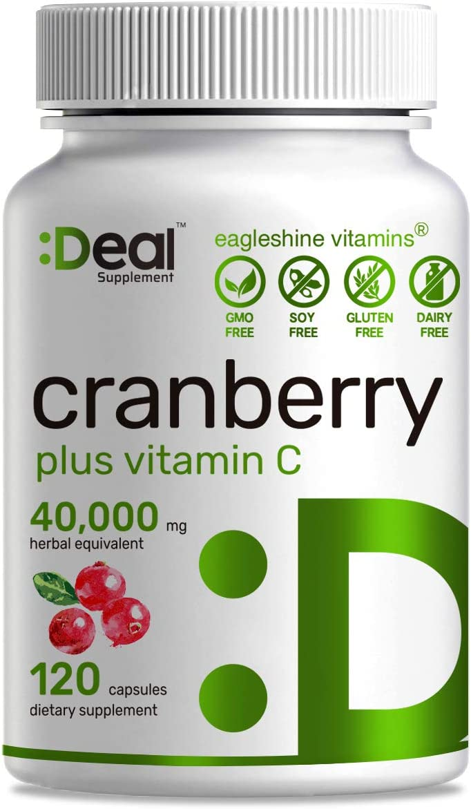 Deal Supplement Cranberry Pills with Vitamin C, Fruit Concentrate 100 1- Equals to 40,000 mg Fresh Cranberries- 120 Capsules, Cleanse Protect Urinary Tract, Immune Booster – 3 Months Supply
