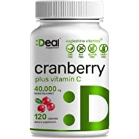 Deal Supplement Cranberry Pills with Vitamin C , Fruit Concentrate 100:1- Equals to 40,000 mg Fresh Cranberries- 120…