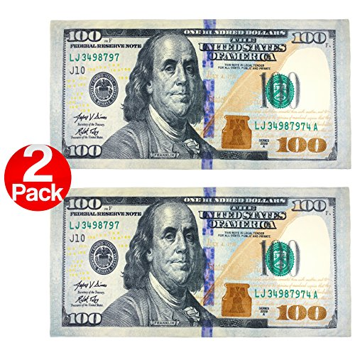 New 100 Dollar Bill Printed Beach Towel (106028) - 2 Pack Set