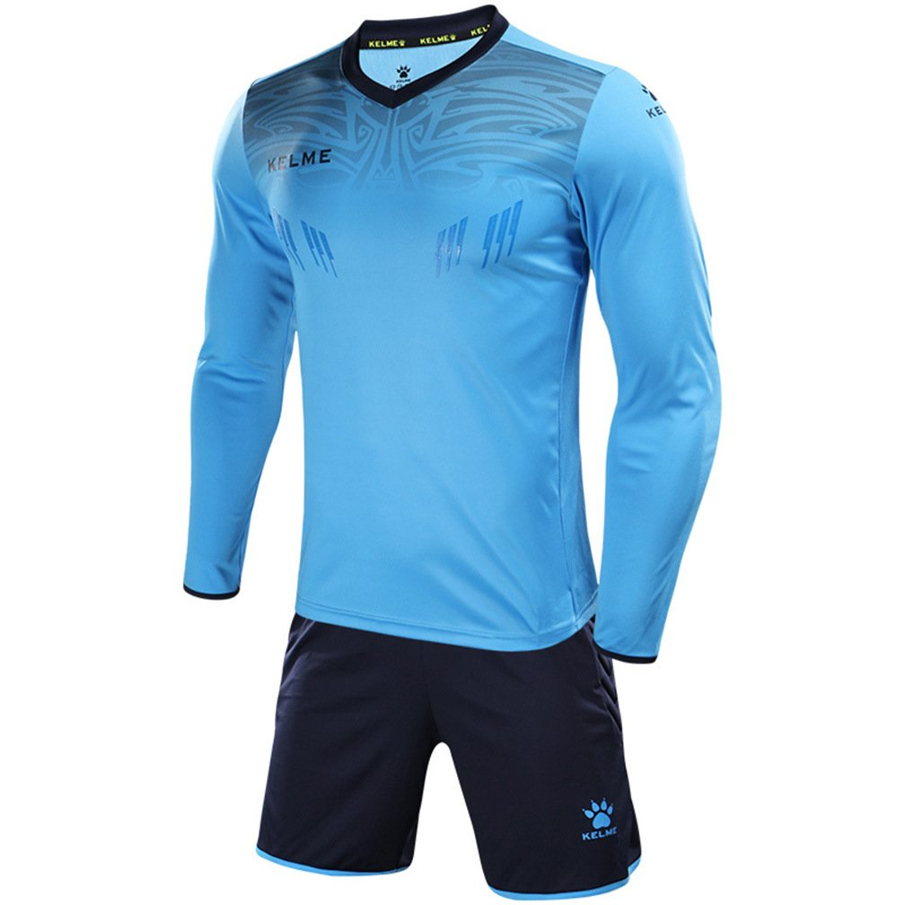 4f3fcac9b Kelme Men's Goalkeeper Long-Sleeve Suit Football Goalkeeper Jersey Set  Professional Soccer Brand with Protection Pads on Shirt and Shorts:  Amazon.co.uk: ...