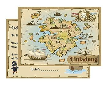 15 Einladungskarten Kindergeburtstag Pirat Schatzkarte