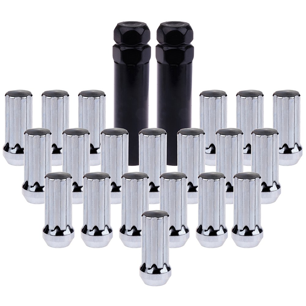 ECCPP Wheel Lug Nuts Ford F-150 Expedition 5 Lug 5x135 14x2.0 Chrome Spline 20 Pcs + 2 Keys for Ford Expedition Lincoln Navigator 2000-2002