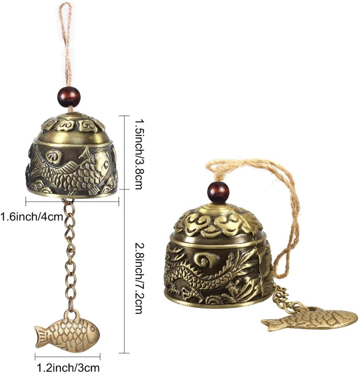 2 Pcs Hanging Bell Vintage Wind Chime Brass Metal Bell Chinese Traditional Dragon Feng Shui Ornament Bell for Home Car Garden Good Luck Blessing Crafts Christmas Hanging Decor Gift