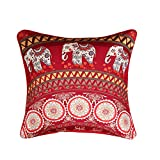 "Sleepwish Bohemian Mandala Pillow Cover Retro Floral Medallion Moroccan Style Cushion Cover Colorful Elephant Pillow Sham Decor 18""x18"" (6)"