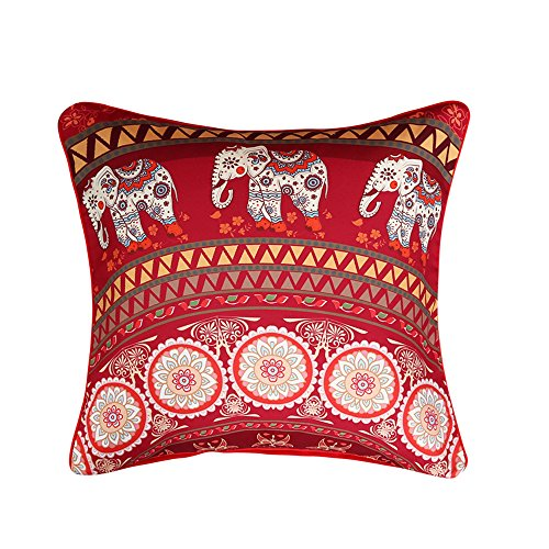 Sleepwish Red Mandala Pillow Cover Indian Elephant Messenger