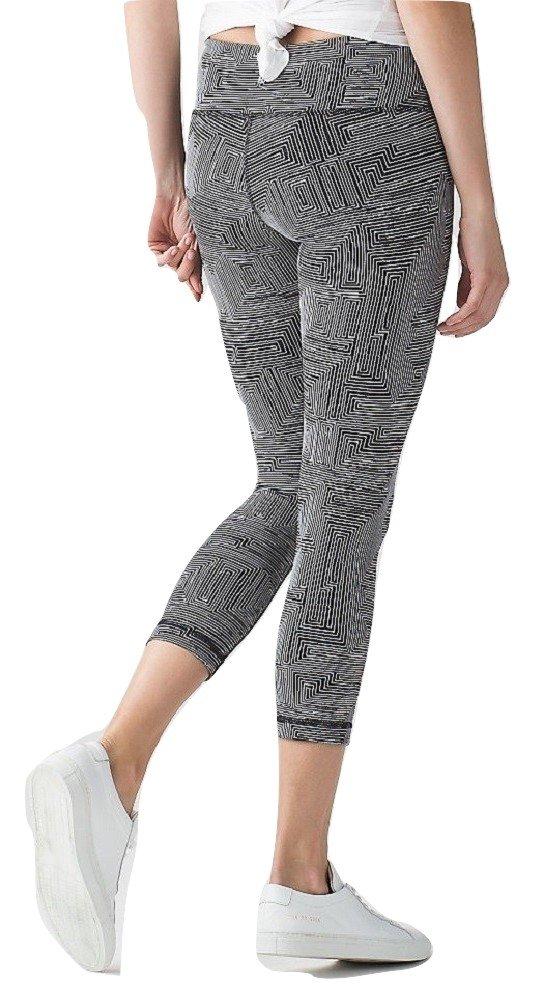 Lululemon Wunder Under Crop Yoga Pants Maze Jacquard White Black Luon (10)