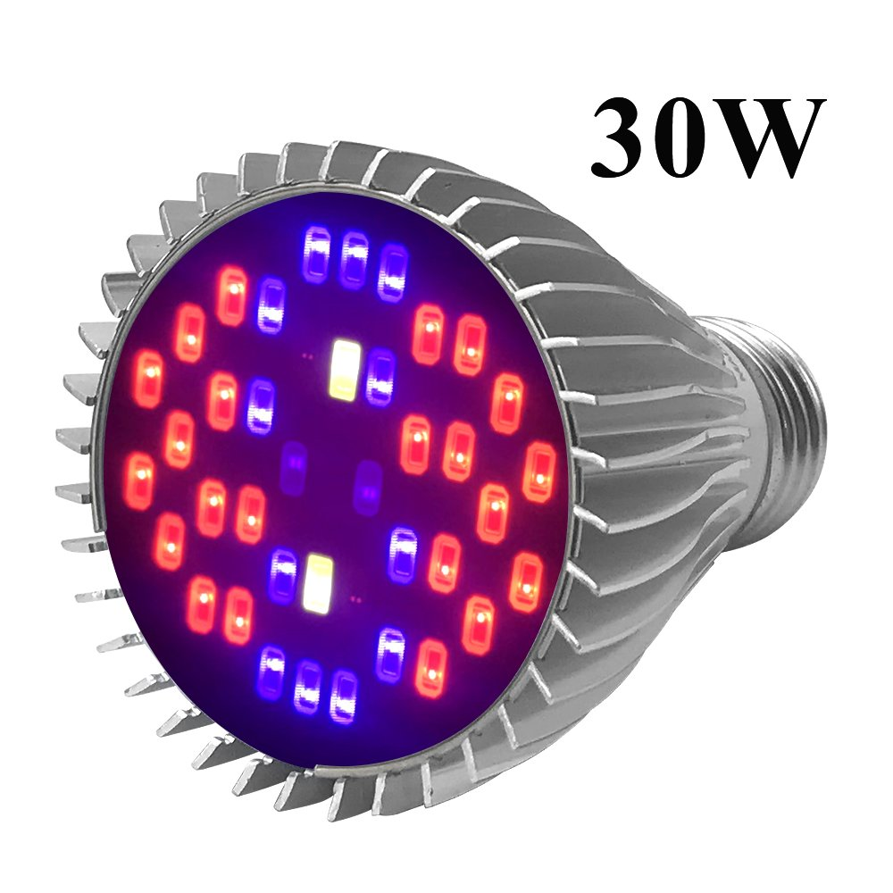 LED Grow Light Bulb, Indoor Plant Growing Lamps Greenhouses, Hydroponics, Full Spectrum, 30W E27