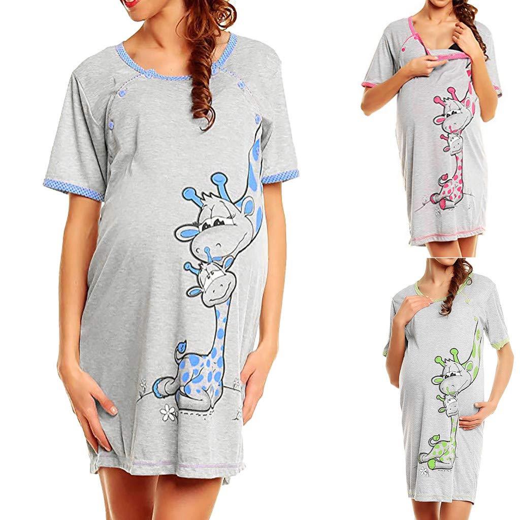 Maternity Button Nursing Nightdress,Womens O Neck Short Sleeveless Printed Pregnant Breastfeeding Nightshirt Sleep Dress